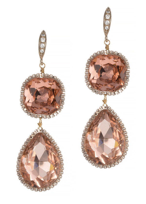 Cushion and Pear cut rock crystal two tier drop earrings, Peach Pink, Antique Gold finish
