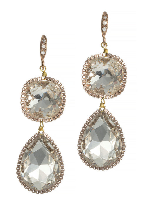 Cushion and Pear cut rock crystal two tier drop earrings, Clear, Antique Gold finish