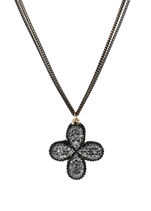 Clover short necklace encrusted with Hematite, Gun metal finish