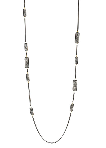 Hand set Hemitite encrusted, double sided, 18 motif, Black gold chain framed rectagular motif long strand necklace, Gold black finish.