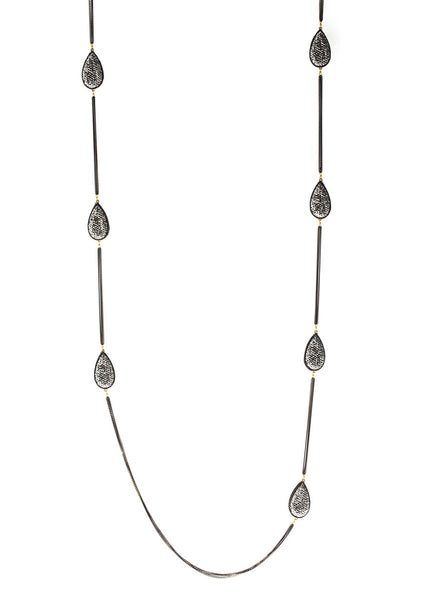 Hand set Hemitite encrusted, double sided, 14 motif, Black gold chain framed teardrop motif long strand necklace, Gold black finish.