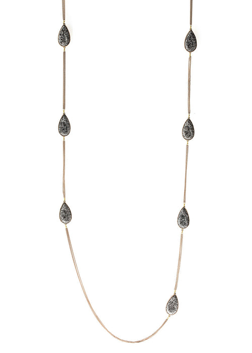 Hand set Hemitite encrusted, double sided, 14 motif, Black gold chain framed teardrop motif long strand necklace, antique Gold finish.