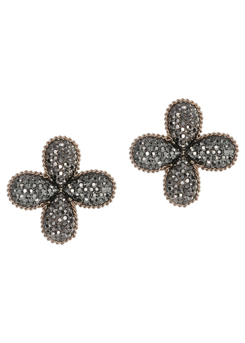 Clover stud earrings encrusted with Hemitite, Antique gold finish, Clip on