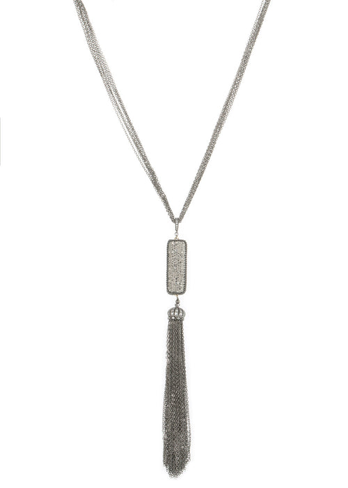 Long necklace with hand set Hematite encrusted, double sided, 2 motif, Gun metal chain with CZ encrusted cap tassel detail, Gun metal finish.