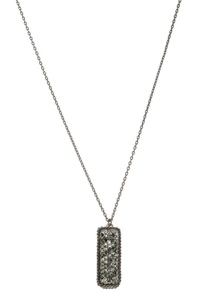 Short necklace with hand set Hematite encrusted, double sided, 2 motif, Gun metal finish.