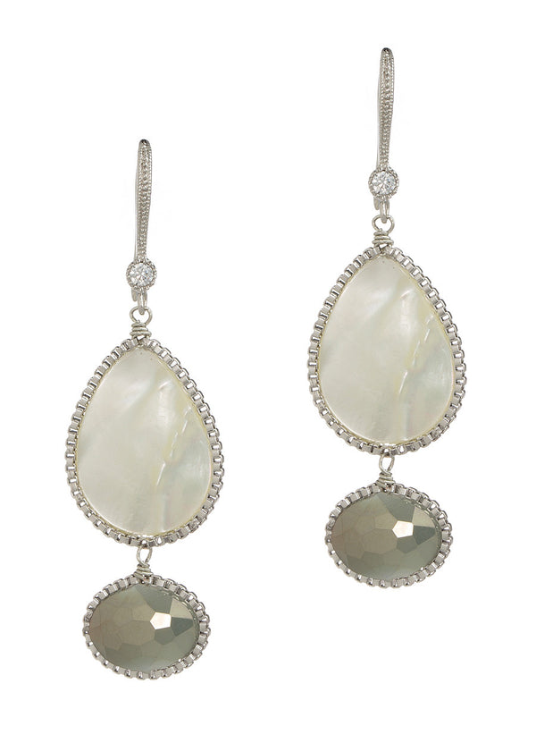 Eudora (Goddess of heavy rain) two tier earrings with Mother of pearl and Swarovski crystal, Gray accent, White gold finish