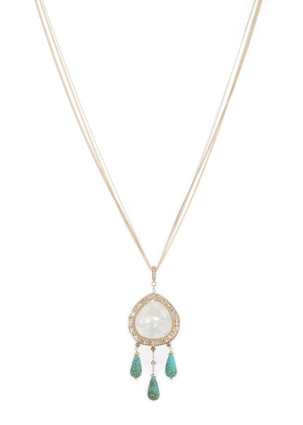 Gaia long pendant necklace with Mother of pearl and Turquoise drops, Gold finish