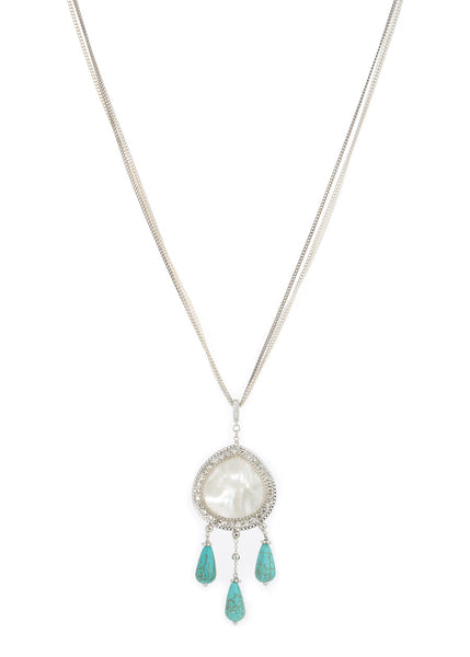 Gaia long pendant necklace with Mother of pearl and Turquoise drops, White Gold finish