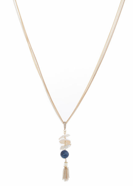 Lapis accented three tier Keshi pearl tassel long pendant necklace, Multi finish