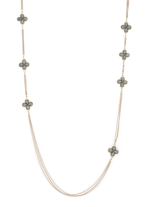 Long strand double sided 18 motif clover necklace encrusted with Hematite, Antique Gold finish