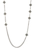 Long strand double sided 18 motif clover necklace encrusted with Hematite, Gun metal finish