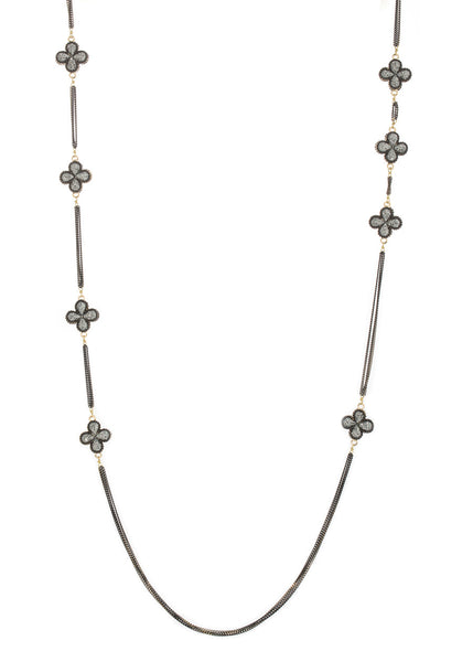 Long strand double sided 18 motif clover necklace encrusted with Hematite, Black gold finish
