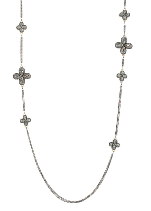 Clover long strand necklace encrusted with Hematite, Gun metal finish
