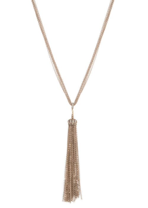 Hand set high quality CZ enhancer Crown tassel long pendant necklace, Antique gold finish