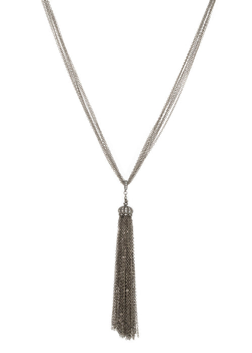 Hand set high quality CZ enhancer Crown tassel long pendant necklace, Gun metal finish