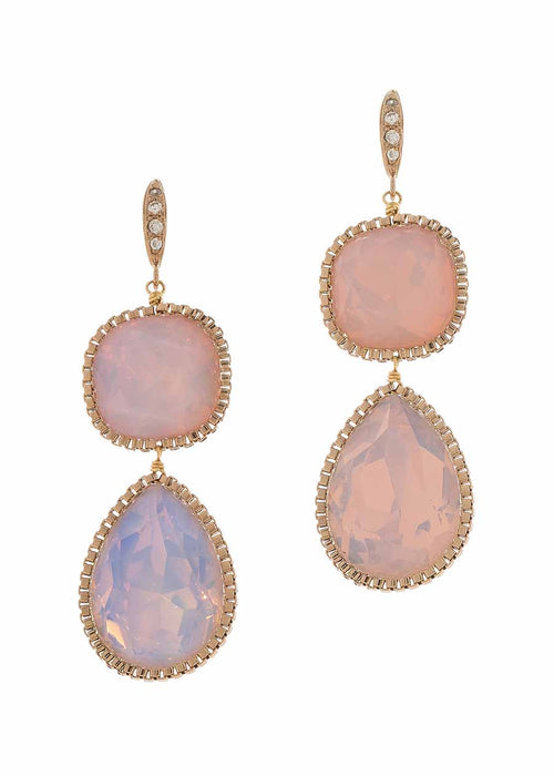 Cushion and Pear cut rock crystal two tier drop earrings, Pink Opal, Antique Gold finish