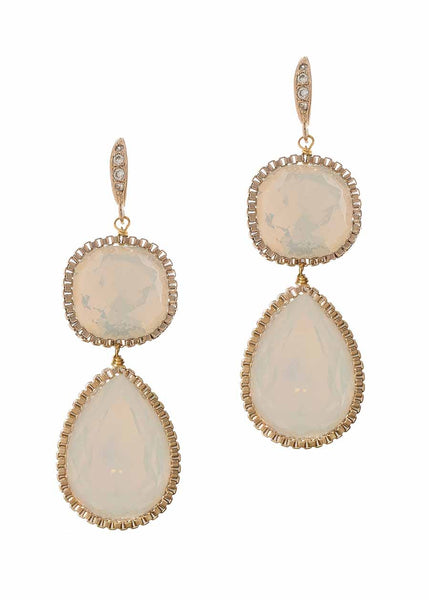 Cushion and Pear cut rock crystal two tier drop earrings, White Opal, Antique Gold finish