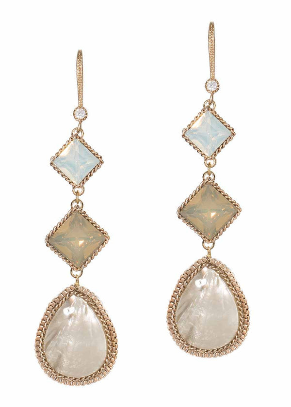 Opal Swarovski crystal accented  chain framed Mother of Pearl drop earrings, Three tiers, Antique gold finish