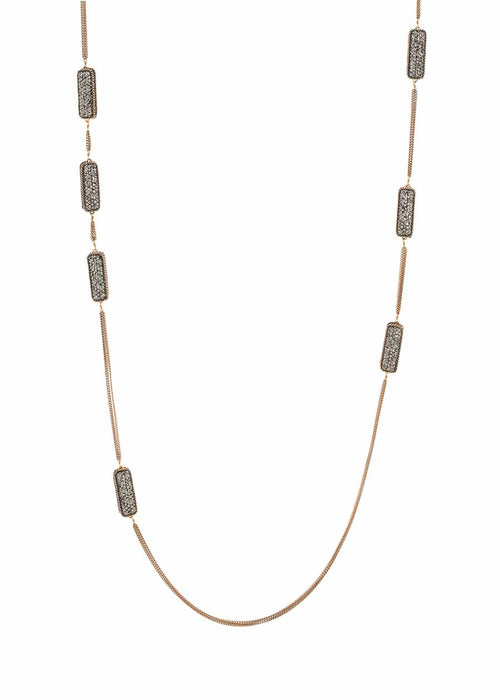 Hand set Hematite encrusted, double sided, 18 motif, Black gold chain framed small rectangular motif long strand necklace, Antique gold finish.
