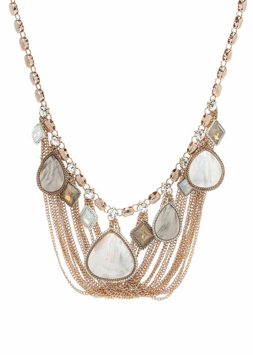 Draped chain statement necklace with Mother of pearl, CZ and Opal Swarovski crystals, Antique gold finish