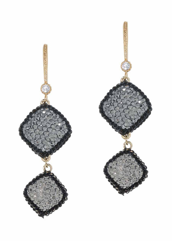 Black gold chain framed two tier statement earrings with hand set Hematite, double sided, 8 motif. Black gold finish.