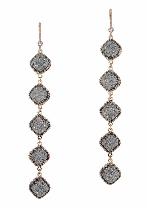 Antique gold chain framed five tier statement earrings with hand set Hematite, double sided, 20 motif. Antique gold finish.