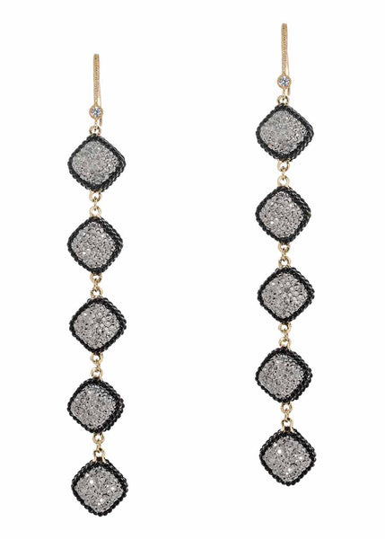 Black gold chain framed five tier statement earrings with hand set Hematite, double sided, 20 motif. Black gold finish.