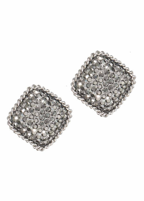 White gold chain framed stud earrings with hand set Hematite, 2 motif. White gold finish.
