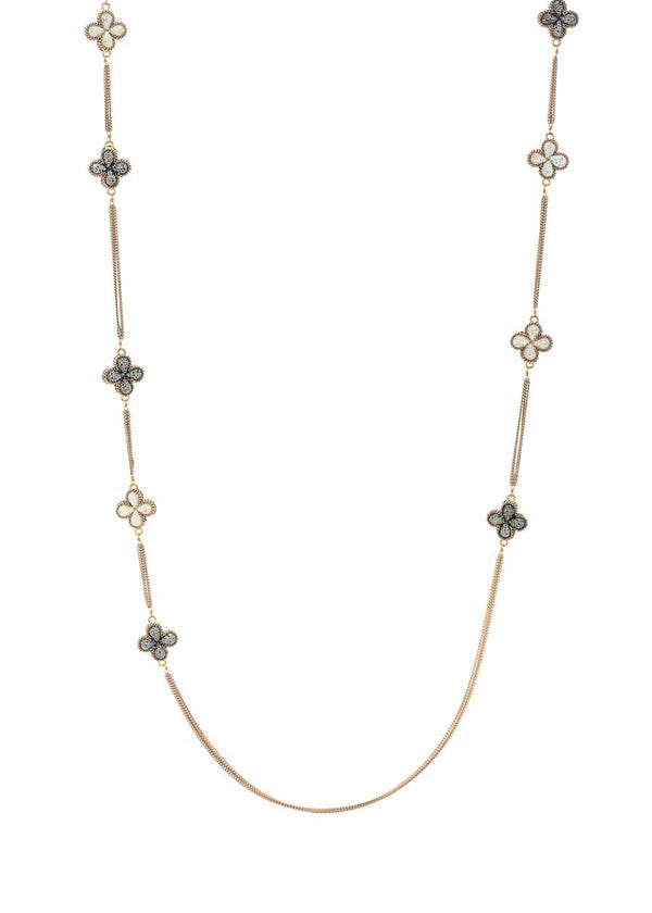 Black and White Clover small motif only long strand necklace encrusted with Hematite and CZ, Antique Gold chain finish