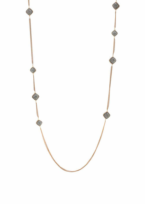 Antique gold chain framed long strand necklace with hand set Hematite, 16 square motif. Antique gold finish.