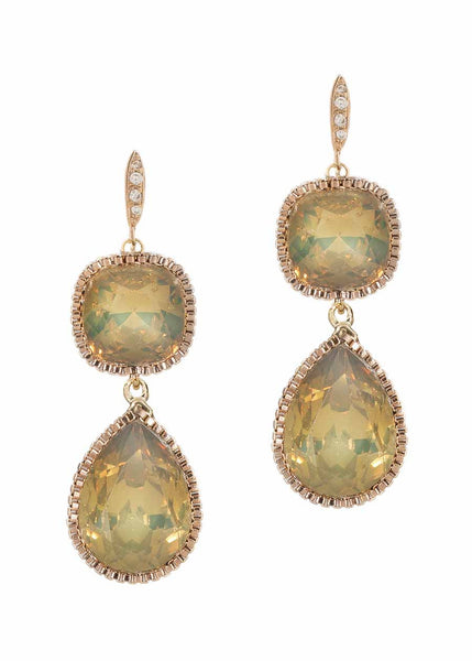 Cushion and Pear cut rock crystal two tier drop earrings, Gray Opal, Antique Gold finish