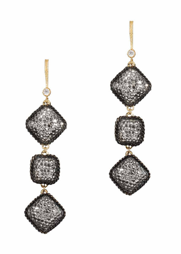 Black gold chain framed three tier statement earrings with hand set Hematite, double sided, 12 motif. Black gold finish.