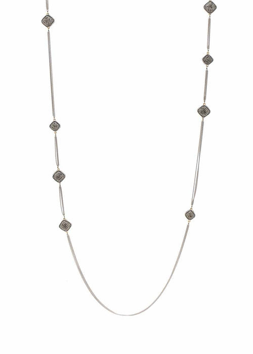 White gold chain framed long strand necklace with hand set Hematite, 16 square motif. White Gold finish.