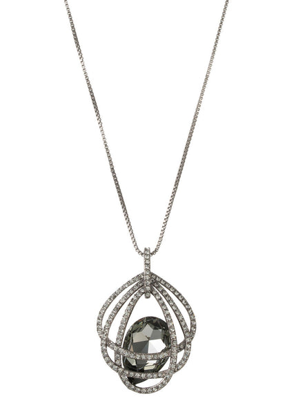 Caged Black diamond Swarovski Rock Crystal Long Necklace, Gun metal finish