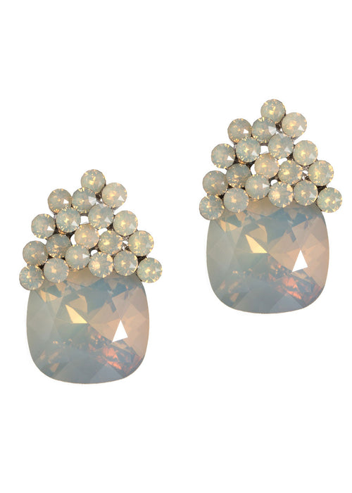 Gray Opal Cushion Cut Swarovski Crystal stud earrings, White Gold finish