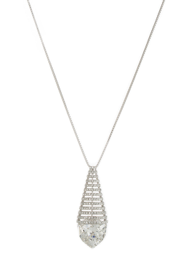 Clear Swarovski Rock Crystal Long Necklace, White gold finish