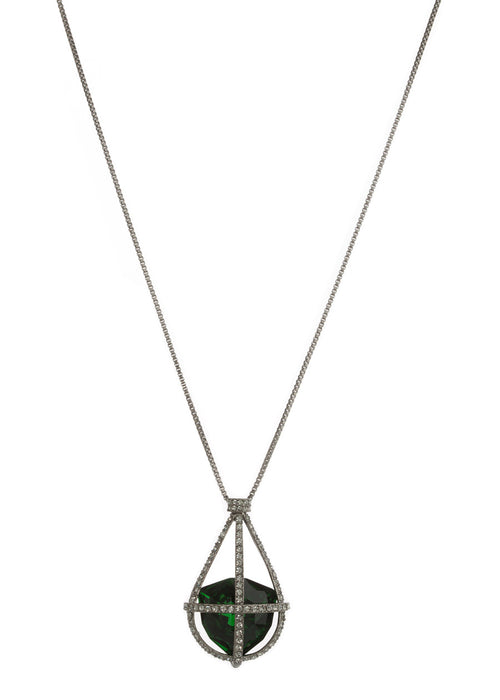 Caged Emerald Swarovski Rock Crystal Long Necklace, Gun metal finish