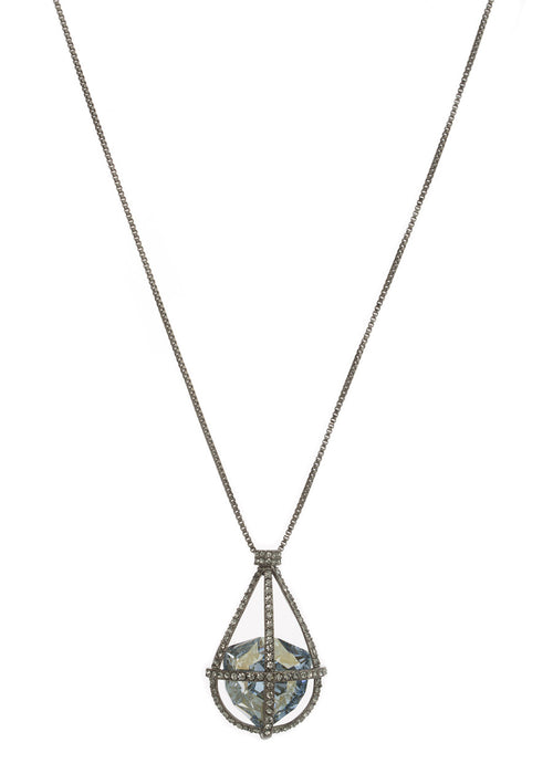 Caged Ice Blue Swarovski Rock Crystal Long Necklace, Gun metal finish