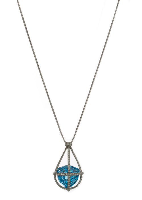 Caged London Blue Swarovski Rock Crystal Long Necklace, Gun metal finish