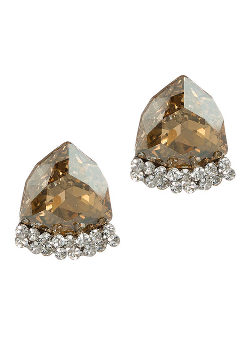 Topaz Swarovski Rock Crystal statement stud earrings, White gold finish