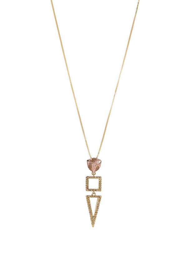 Artemis long pendant necklace with paved geometric motives with Peach rock Swarovski crystal accent, Gold finish