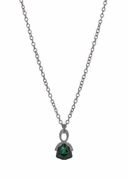 Athena long pendant necklace with Emerald Green Rock Swarovski crystal, Gun metal finish