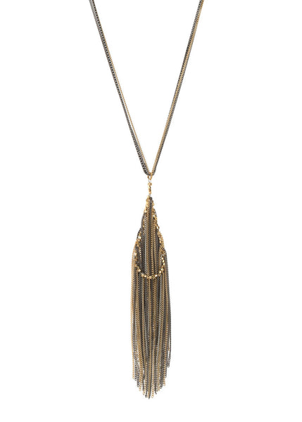 Amazonian monsoon long soft tassel necklace, Gold combo