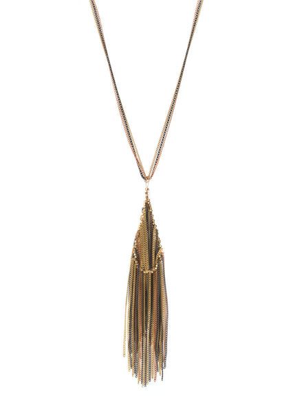 Amazonian monsoon long soft tassel necklace, Rose Gold combo