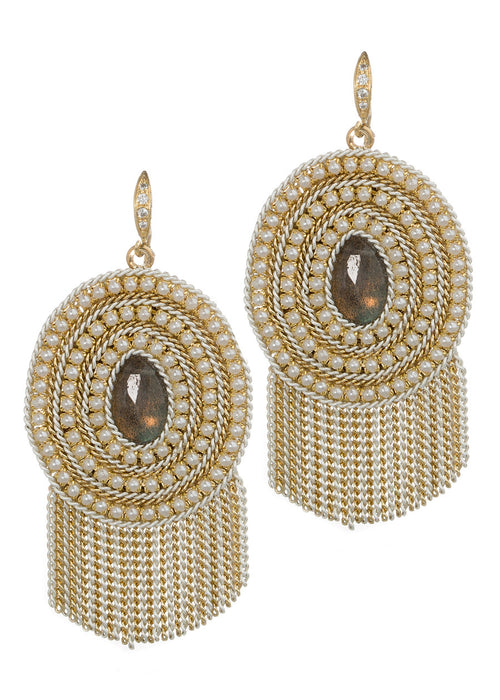 Triple pearl framed Labradorite centered statement earring with tassel detail, Multi finish