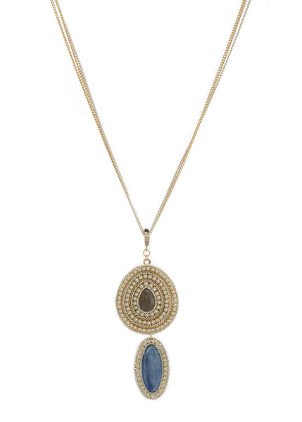 Labradorite and Lapis two tier Long pendant necklace with pearl and Opal Swarovski crystal frame, Multi finish