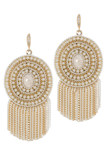 Triple pearl framed Ivory Agate centered statement earring with tassel detail, Multi finish