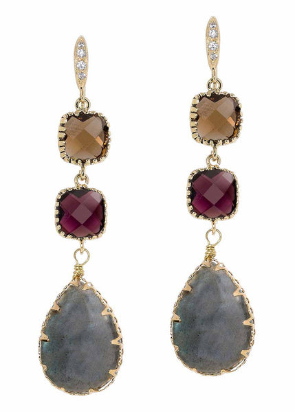 Triple tier drop  earrings with Labradorite and Swarovski crystal, Gold finish
