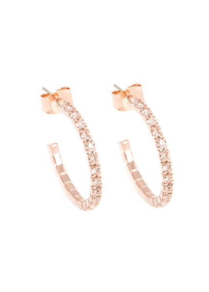 Small classic single line CZ open hoop in Rose gold finish