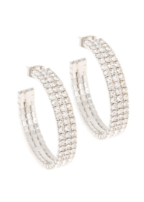 Small classic triple line CZ open hoop in white gold finish
